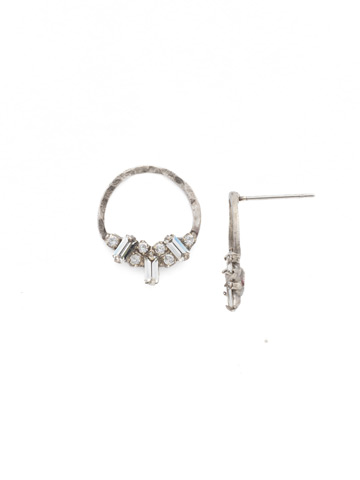 Mini Haute Hammered Post Earring in Antique Silver-tone Crystal