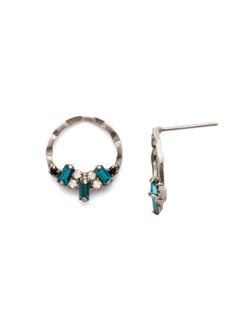 Mini Haute Hammered Post Earring in Antique Silver-tone Game Day Green
