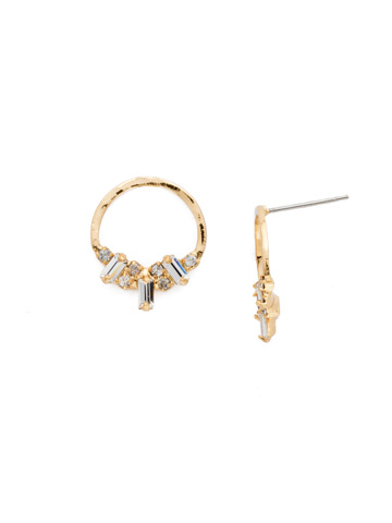 Mini Haute Hammered Post Earring in Bright Gold-tone Crystal