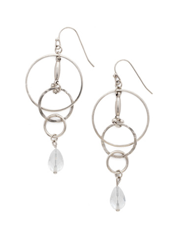 Interlocking Circles Earring in Antique Silver-tone Crystal