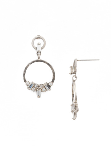 Haute Hammered Drop Earring in Antique Silver-tone Crystal