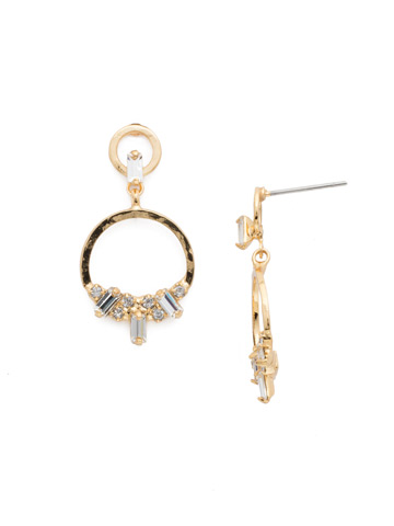 Haute Hammered Drop Earring in Bright Gold-tone Crystal