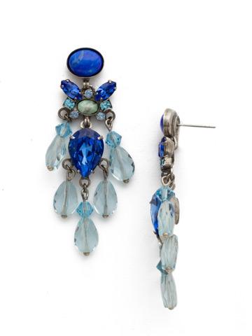 Beaded Boho Earring in Antique Silver-tone Ultramarine