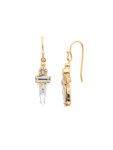 Point Made Earring in Bright Gold-tone Crystal