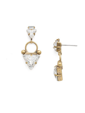 Tri Again Crystal Earring in Antique Gold-tone Crystal