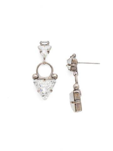 Tri Again Crystal Earring in Antique Silver-tone Crystal