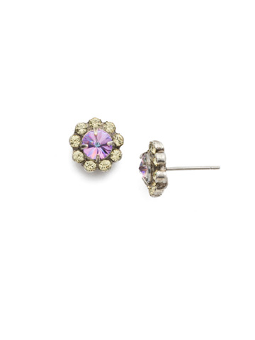 Best Bud Earring in Antique Silver-tone Lilac Pastel