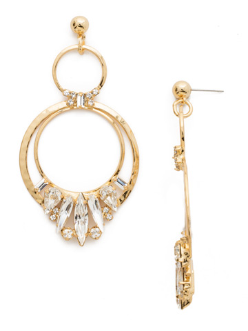 Rolling Stones Earring in Bright Gold-tone Crystal