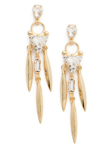 Jagged Edge Crystal Earring in Bright Gold-tone Crystal