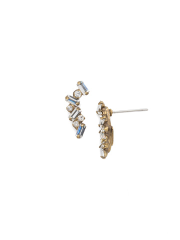 Dotted Line Ear Crawler in Antique Gold-tone Crystal