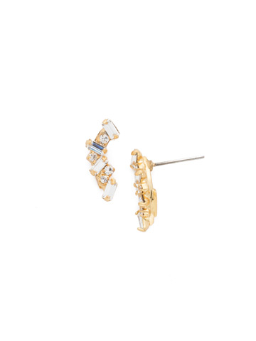 Dotted Line Ear Crawler in Bright Gold-tone Crystal