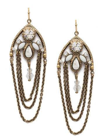 Charming Chain Earring in Antique Gold-tone Crystal