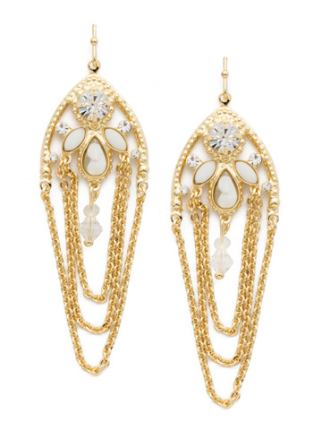Charming Chain Earring in Bright Gold-tone Crystal