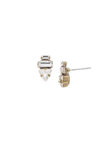 Triple Stack Crystal Post Earring in Antique Gold-tone Crystal