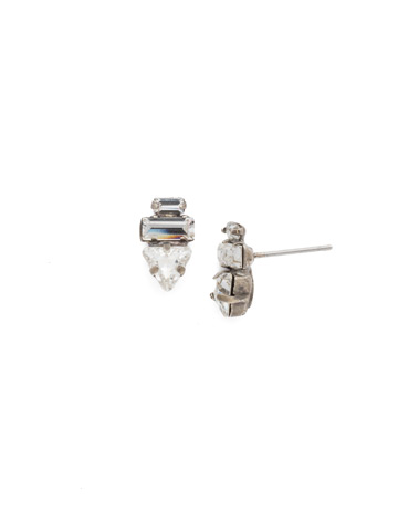 Triple Stack Crystal Post Earring in Antique Silver-tone Crystal