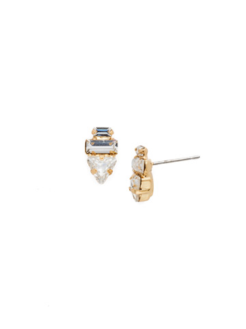 Triple Stack Crystal Post Earring in Bright Gold-tone Crystal
