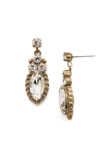 Noble Navette Drop Earring in Antique Gold-tone Crystal
