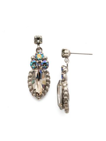 Noble Navette Drop Earring in Antique Silver-tone Crystal Rock