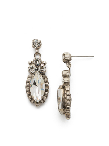 Noble Navette Drop Earring in Antique Silver-tone Crystal