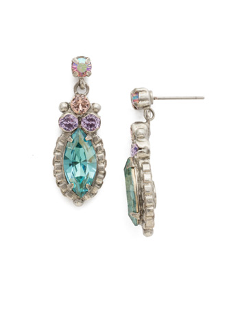 Noble Navette Drop Earring in Antique Silver-tone Lilac Pastel