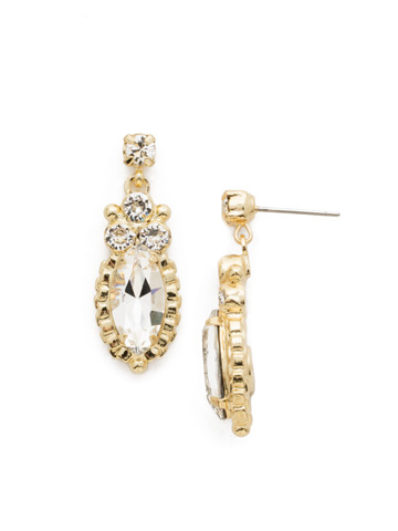 Noble Navette Drop Earring in Bright Gold-tone Crystal