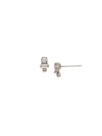 Divided Earring in Antique Silver-tone Crystal