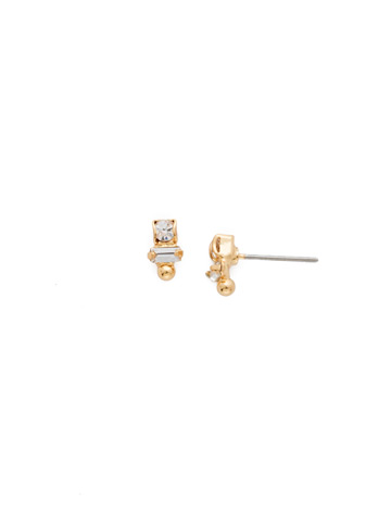 Divided Earring in Bright Gold-tone Crystal