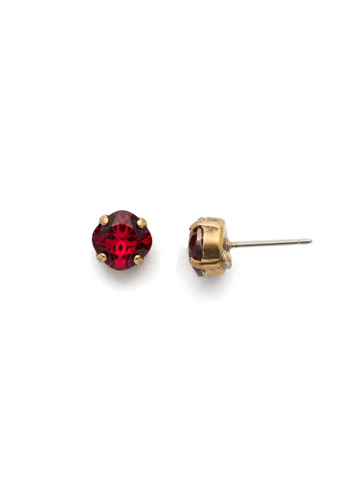 One and Only Earring in Antique Gold-tone Go Garnet