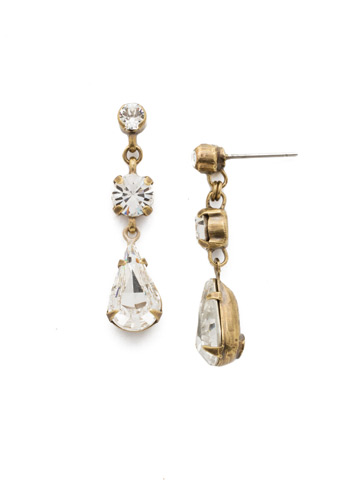 Tiger Lily Trio Earring in Antique Gold-tone Crystal