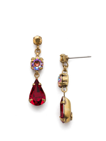 Tiger Lily Trio Earring in Antique Gold-tone Go Garnet