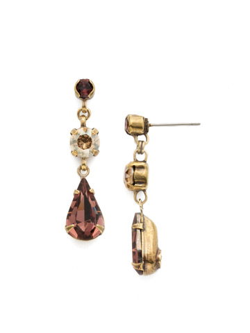 Tiger Lily Trio Earring in Antique Gold-tone Mighty Maroon
