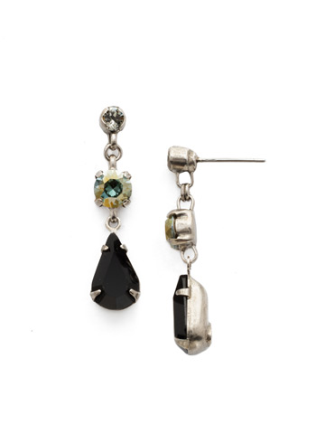 Tiger Lily Trio Earring in Antique Silver-tone Black Onyx