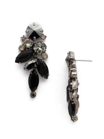 Asymmetrical Drop Earring in Antique Silver-tone Black Onyx