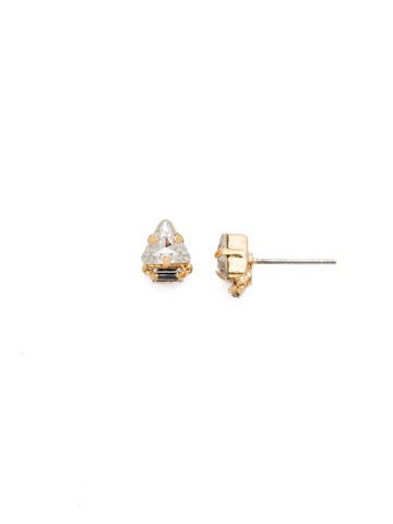 Tri-ed and True Crystal Earring in Bright Gold-tone Crystal