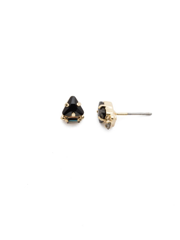 Tri-ed and True Crystal Earring in Bright Gold-tone Jet