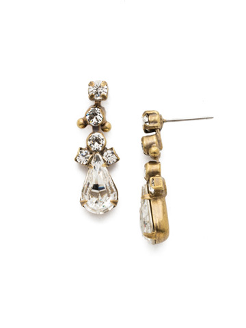 Double Up Teardrop Earring in Antique Gold-tone Crystal