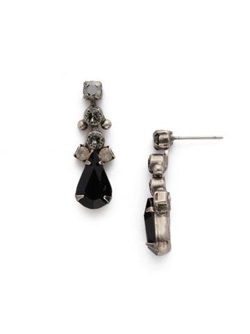 Double Up Teardrop Earring in Antique Silver-tone Black Onyx