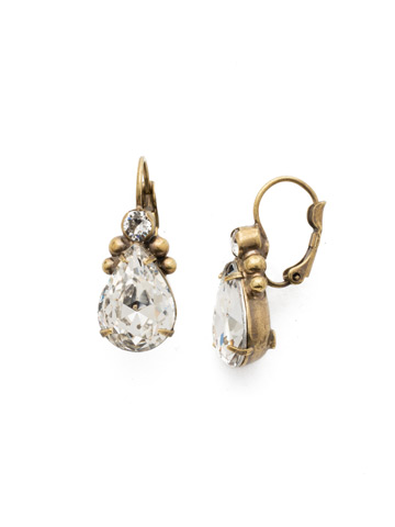 Embellished Pear Earring in Antique Gold-tone Crystal