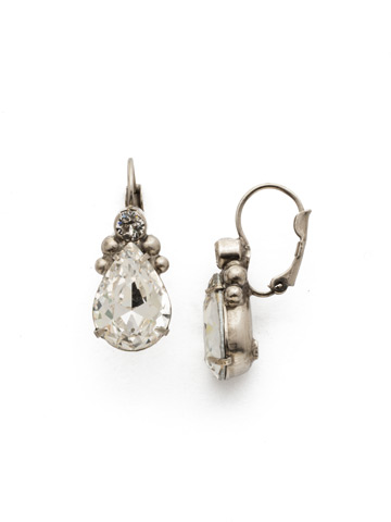 Embellished Pear Earring in Antique Silver-tone Crystal