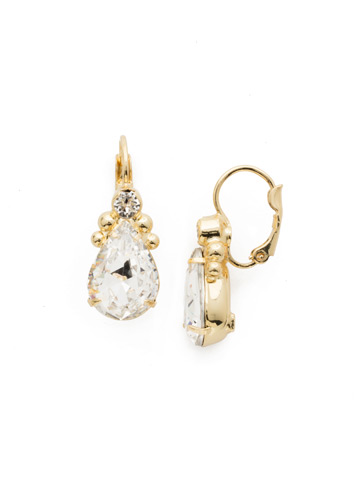 Embellished Pear Earring in Bright Gold-tone Crystal