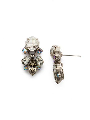Frequent Flyer Earring in Antique Silver-tone Crystal Rock