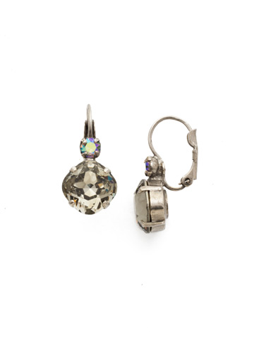 Classic Complements Earring in Antique Silver-tone Crystal Rock
