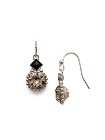 Simplicity Squared Earring in Antique Silver-tone Black Onyx