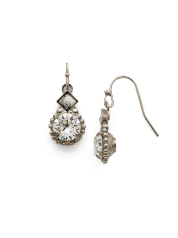 Simplicity Squared Earring in Antique Silver-tone Crystal