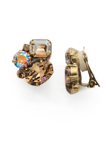 Emerald Cluster Clip Earring in Antique Gold-tone Neutral Territory