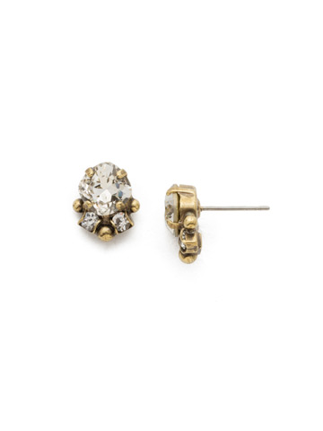 Embellished Cushion Cut Stud Earring in Antique Gold-tone Crystal