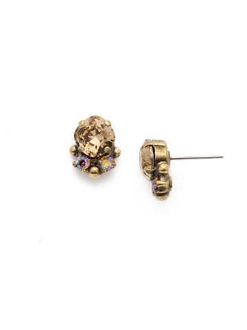 Embellished Cushion Cut Stud Earring in Antique Gold-tone Neutral Territory