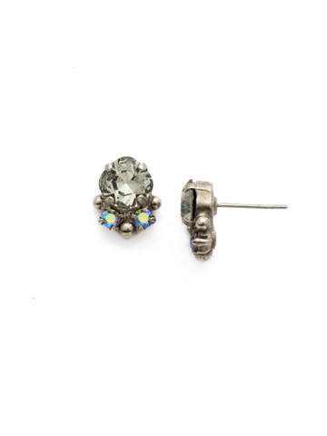 Embellished Cushion Cut Stud Earring in Antique Silver-tone Crystal Rock
