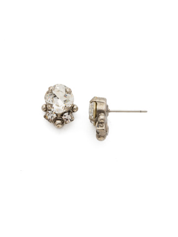 Embellished Cushion Cut Stud Earring in Antique Silver-tone Crystal