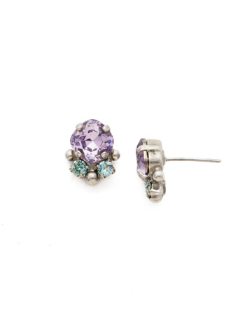 Embellished Cushion Cut Stud Earring in Antique Silver-tone Lilac Pastel